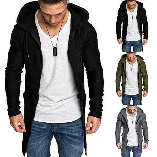 Hooded Solid Trench Coat Jacket Cardigan For Men