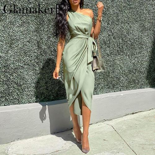 Glamaker Satin Elegant Sexy Sleeveless Long Dress for Women Ladies