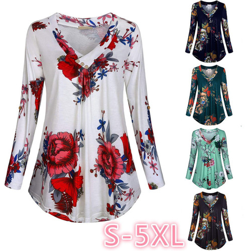 Large Size Women  Long Sleeve Print V-neck Shirt