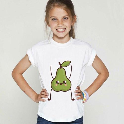 Lovely Kids T-shirt  Fruit Strawberry Pear For Girls
