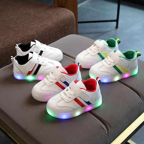 New Children Luminous Shoes for Boys Girls Stripe Sport Running Shoes Toddler Kids LED Sneakers