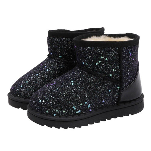 Kids Bling Sequin Glitter Winter Snow Boots For Girls