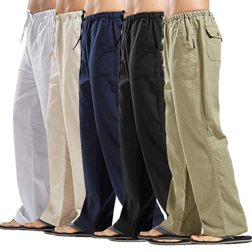 Summer Casual Cotton Linen Trousers Joggers For Men