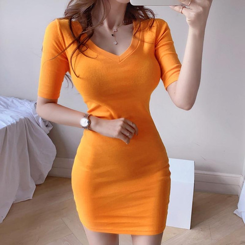 Summer temperament V-neck slim knit bag hip bottom casual dress Office