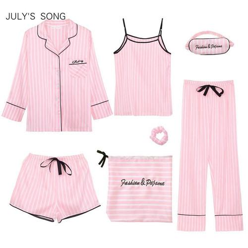 JULY'S SONG Pink Women's 7 Pieces Pyjamas Sets Silk Striped Pyjama Women