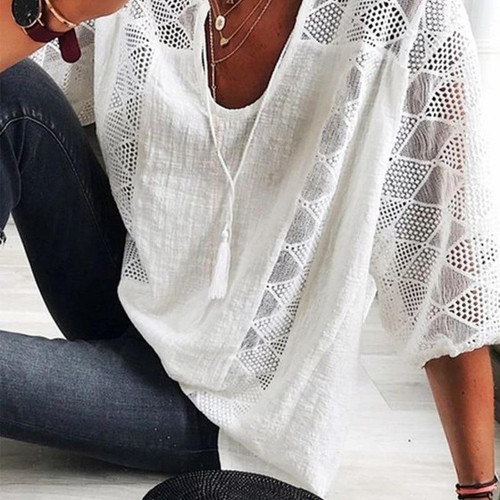 Loose casual woman blouses stitching U-neck Top Shirt
