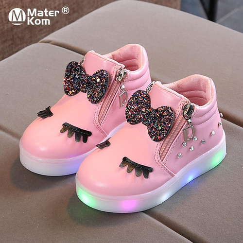 Glowing Sneakers With Kid Princess Bow for Girls LED Shoes Children
