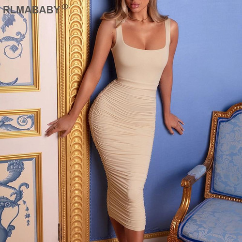 Sexy Women Pleated Long Dress Solid Square Collar Bodycon Dress