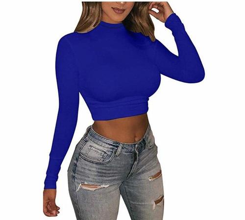 Brand  Neon Color Slim T Shirt Women Long Sleeve Turtleneck T-shirt