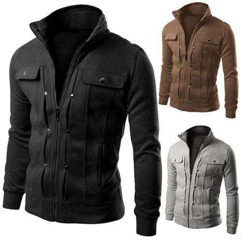 Comfy Jacket For  Mens  Collar Long Sleeve Zip Pocket Slim Jacket Coat Outerwear