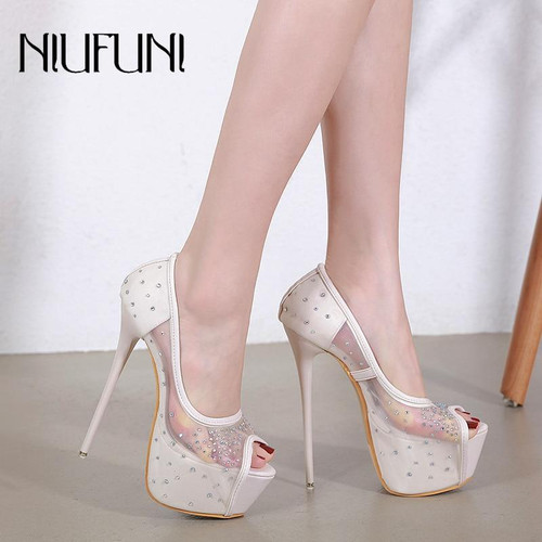 Women Pumps Sexy Lace Peep Ladies  High Heels Platform Wedding Party