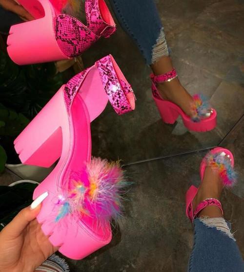 Thick Heels Rubber Platform Super High Heels Women Pumps Shoes Sandals