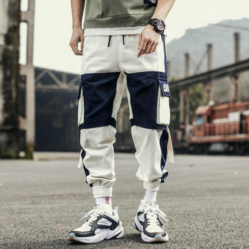 Ribbons Harem Joggers  Pants Streetwear Hip Hop Casual Pockets Trousers For Men