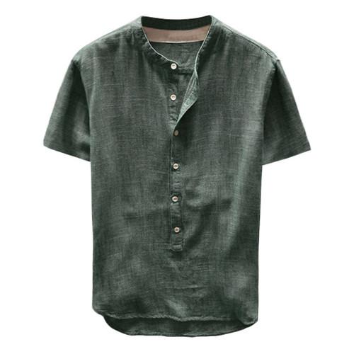 Men's Summer Short Sleeves Cotton Linen Shirt With Pockets