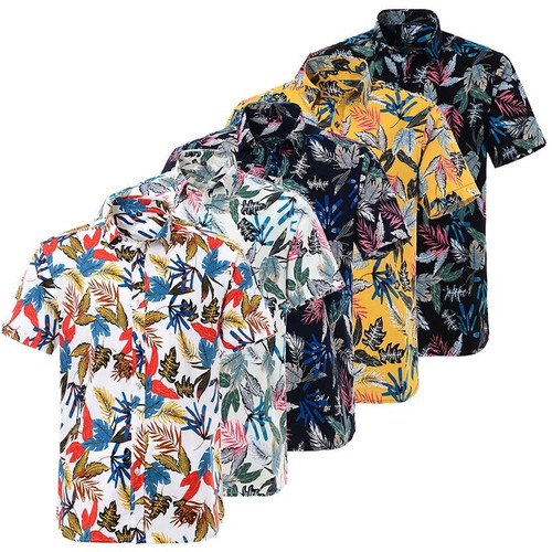 Summer Pure Cotton Hawaiian Shirt Loose For Men Beach Floral Shirts