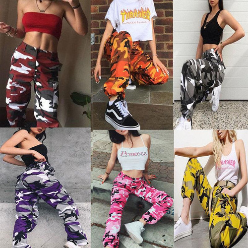 Summer High Waist Loose Camo Trousers Pants Hip Hop For Women Ladies