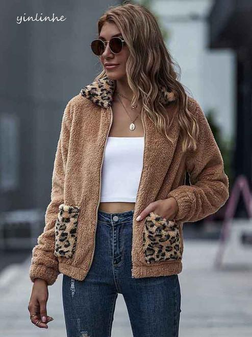 yinlinhe Khaiki Hairy Cashmere  Winter  Jackets For Women Ladies
