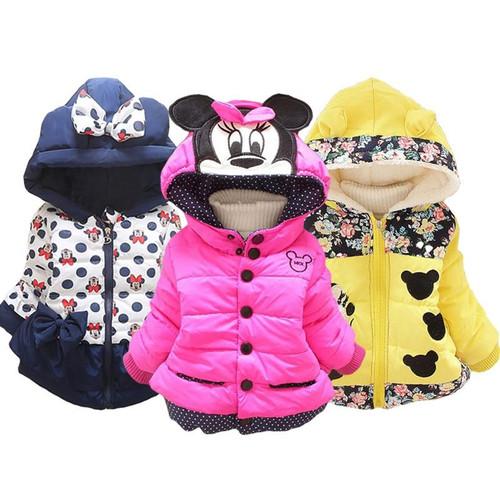 Winter Girls Boys Jacket Cartoon Bear Stripe Cotton Warm Outerwear For Kids Children Boys Girls