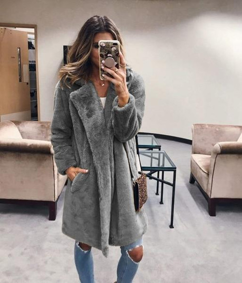 Faux Fur Coat Luxury Long Fur Coat Loose Lapel OverCoat Jacket Women Ladies