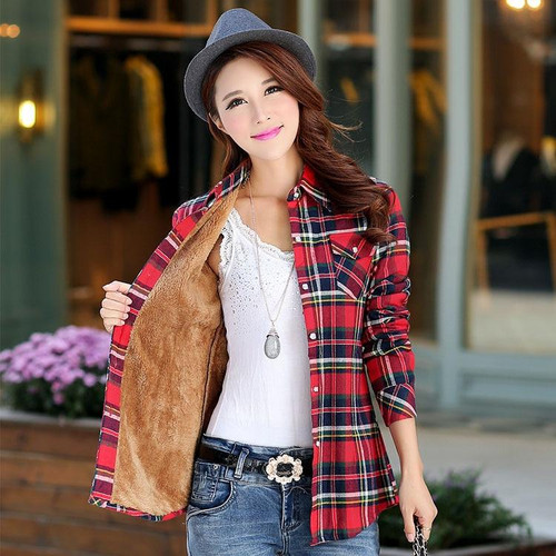 Autumn Women Velvet Thicker Jacket Plaid Shirt Style Coat