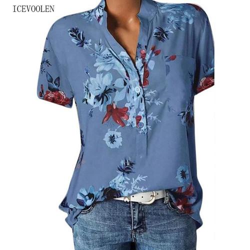 Elegant women's Large size casual shirt fashion V-neck short-sleeved shirt blouse