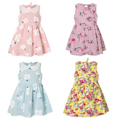 Girls summer dress cute flower print sleeveless soft dresses children