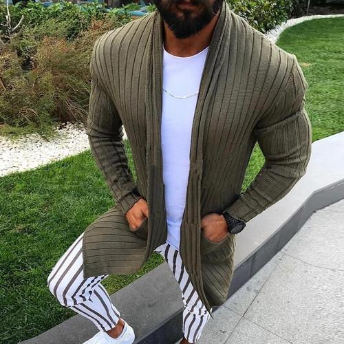 Men Clothes Knitwear Tops Casual Sweater Coat Pocket Cardigan