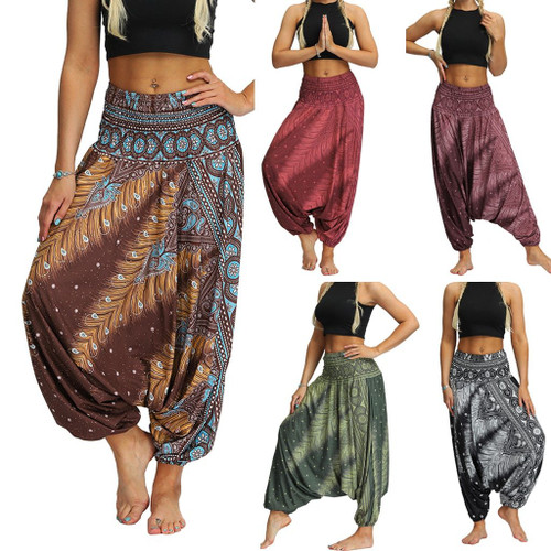 Elegant Unisex Casual Thai Harem Trousers Baggy Boho Women Men