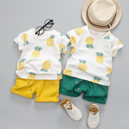 Summer Fashion Baby Boys  and Girls Clothes Cotton Set Printed Fruit Sports Kids Children