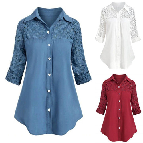 Long Sleeve lace Shirt Blouse For Women Ladies