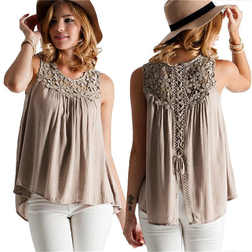 Women lace sleeveless round neck transparent blouse