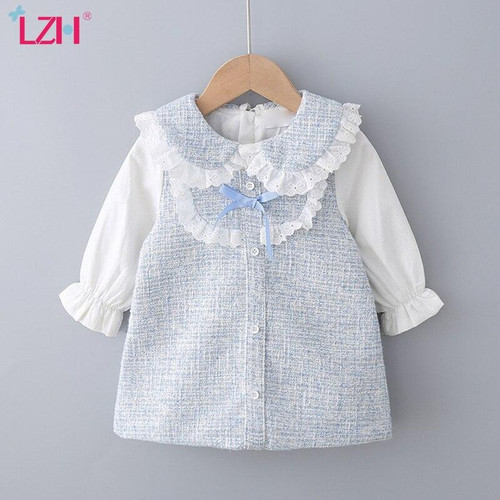LZH Autumn Winter Children Clothes  Dresses For Girls