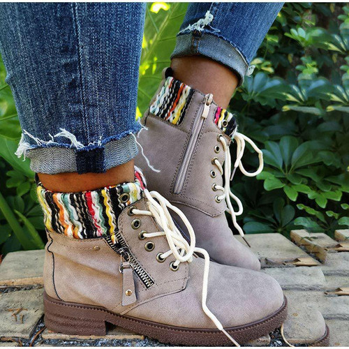 New Casual Women Boots Ankle Short Suede Lace Up Shoes Autumn