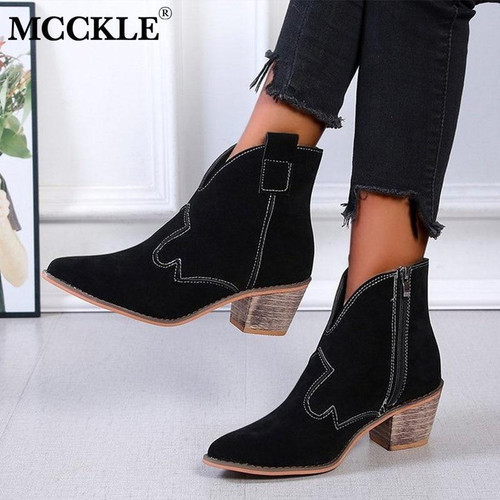 MCCKLE Women Boots Shoes Female Chunky Heels Ankle Boots Ladies