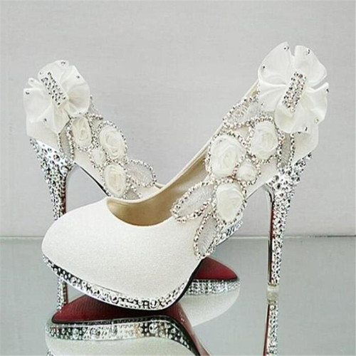 Beautiful Glitter Wedding Bridal Party Evening Crystal High Heels Women Shoes