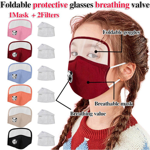 Child Dustproof Outdoor Face Protective Face Mask with Eyes Shield plus 2 Filters Face