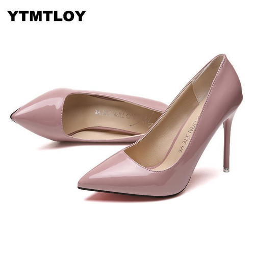 Women Shoes Pointed Toe Pumps Patent Leather High Heels Shoes