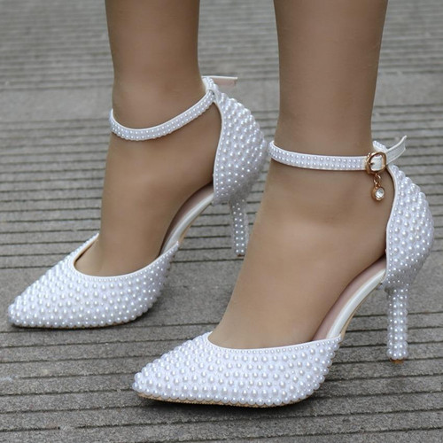 Crystal Queen Pointed Toe White Pearl Wedding Shoes Thin Heels Shoes Bridal High Heels Shoes Female Party Ankle Strap Sandals