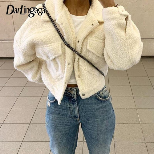Darlingaga Fashion Lamb Wool Autumn Winter Coat Women Jacket Fleece