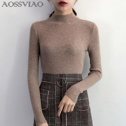 2020 Autumn Winter Women Pullovers Sweater Knitted Korean Elasticity Casual Jumper Fashion Slim Turtleneck Warm Female Sweaters