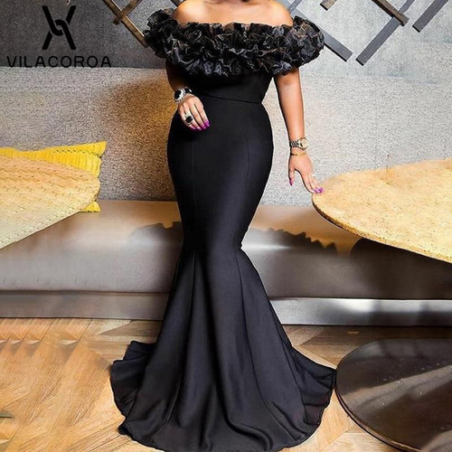 Black Party Ladies Dress Off Shoulder Open Back High Waist Women