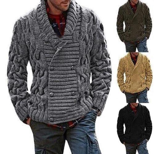 ZOGAA Men Sweaters Coat Winter Thicken Twist Sweaters Jacket Casual Warm Knitting