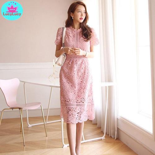 Korean ladies temperament lace round neck waist slimming Lace Women