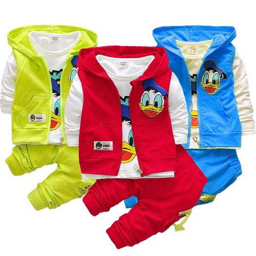 Elegant Children three pieces clothing hoodie vest  full sleeve T-shirt  pants Boys Girls