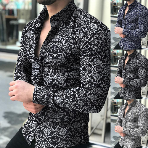 Fashion Men Long Sleeve Floral Print Shirt Spring Autumn Shirts Men