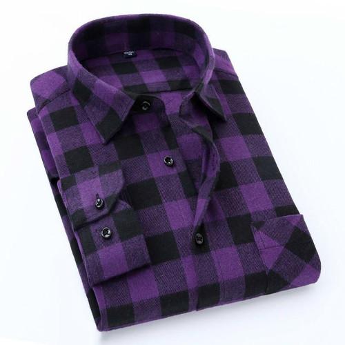 Quality Flannel Plaid Men Shirt Cotton Spring Autumn Casual Long Sleeve Dress Shirts