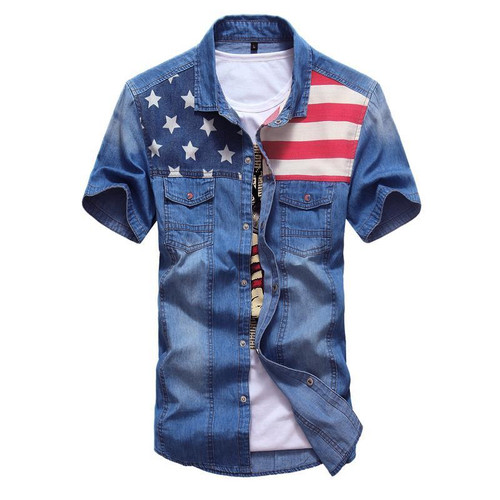 Kenntrice Denim Shirt Male Jeans Men Vintage Short Sleeve Shirt American Flag Summer Top
