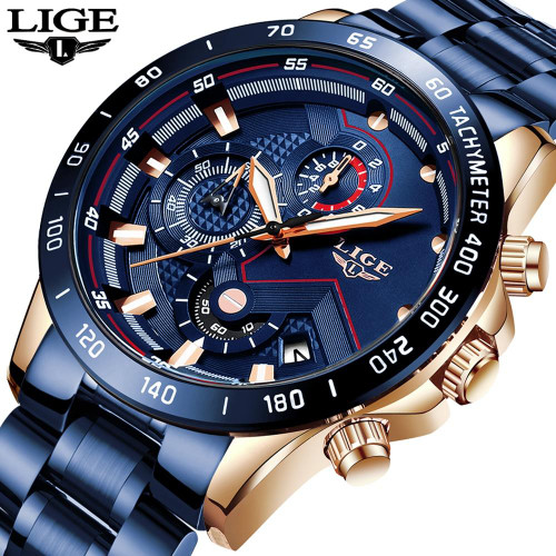 LIGE 2020 New Fashion Mens Watches with Stainless Steel Top Brand Sport