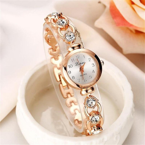 Ladies Elegant Wrist Watches Women Bracelet Rhinestones Analog Quartz Watch