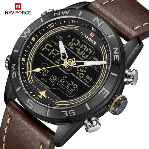 Luxury Brand NAVIFORCE Men's Watch Army Military WristWatch LED Digital Waterproof Sport